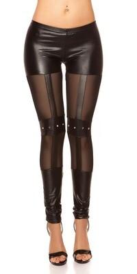 Näyttävät leggingsit wetlook+fishnet S/M