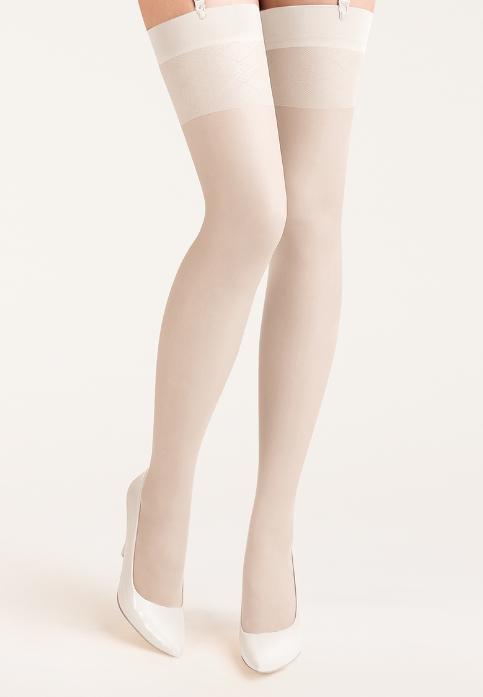 Sukkanauhasukat 20den, valkoinen