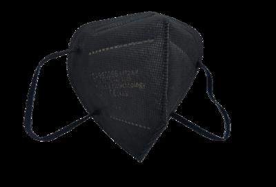 FFP2 hengityssuojain musta, 20 kpl / laatikko, taitettava, ilman venttiiliä