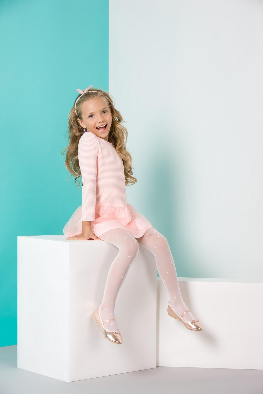 Lasten sukkahousut Nela, valkoiset pilkulliset