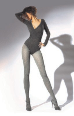 Sukkahousut Stella, 200 den, harmaa/musta