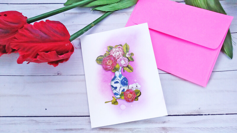 Handmade Greeting Card, Set of 3 Watercolor Plain Note Card Set