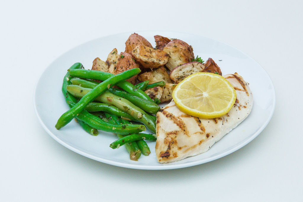 Herb Roasted Lemon Chicken with Roasted Potatoes and String Beans