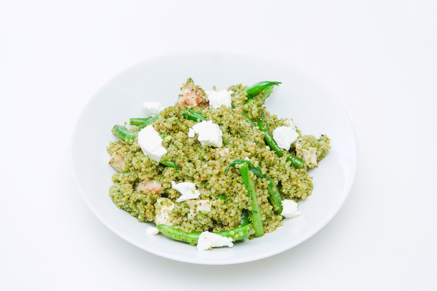Grilled Chicken over Sprouted Quinoa Green Bean Salad with Pistachio Pesto and Goat Cheese