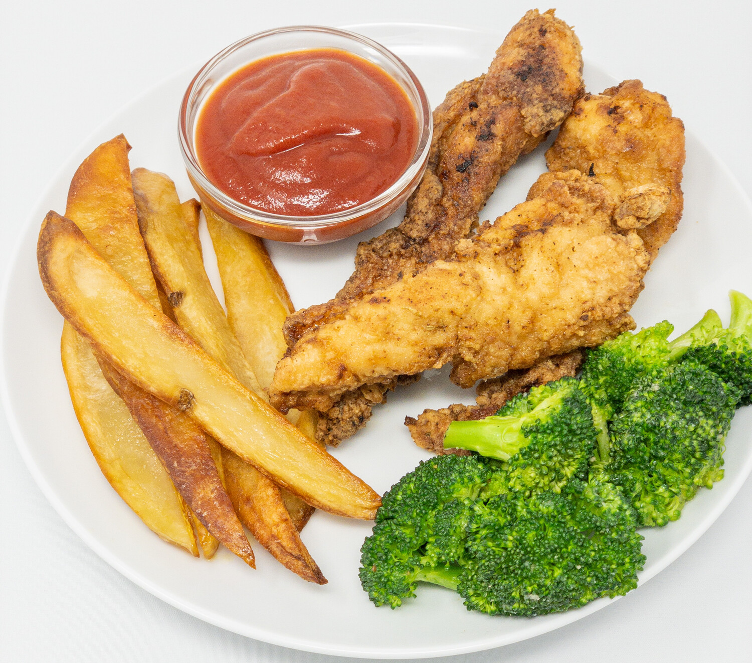 Chicken Fingers, Fries, Broccoli