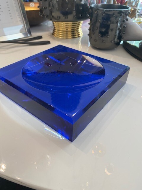Lucite Candy Dish Blue
