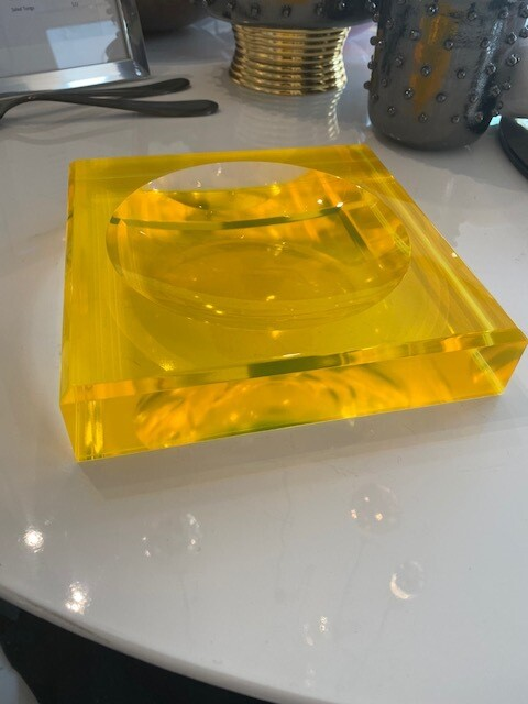 Lucite Candy Dish Yellow