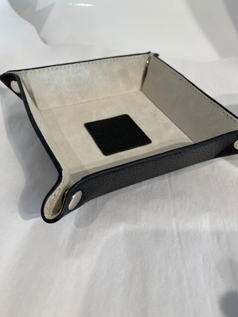 Leather Valet Tray Black