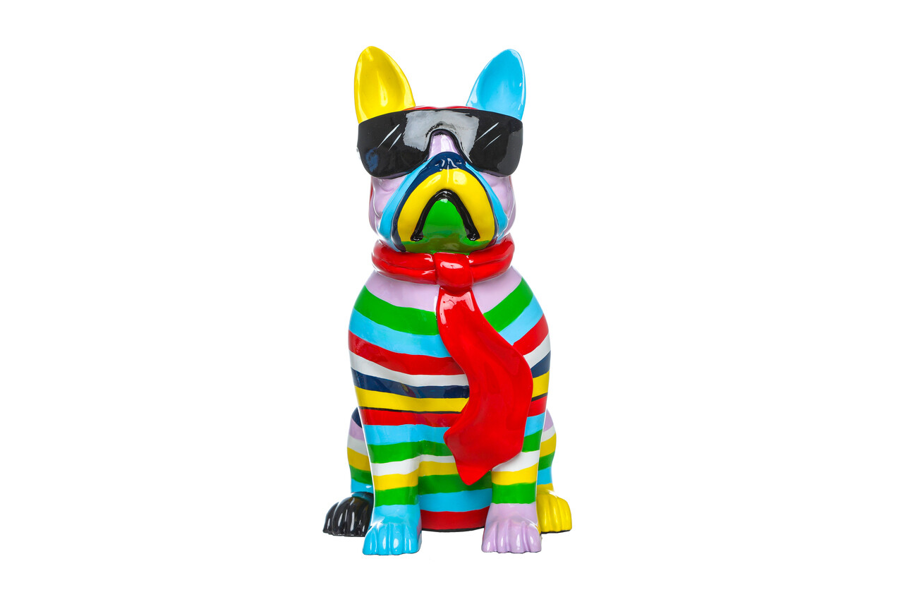 "Stripe Dog with Black Glasses - 14"" tall"