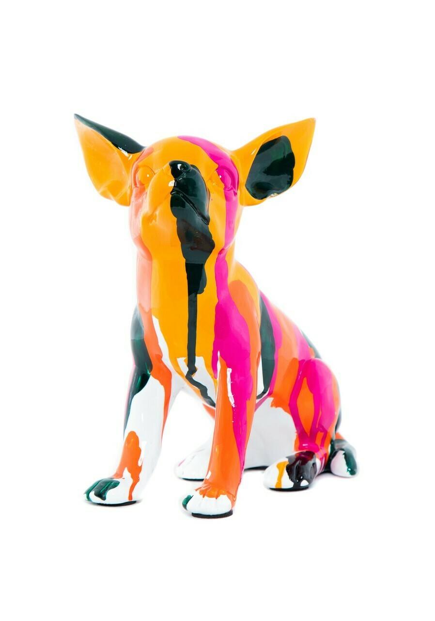 "Sitting Chihuahua Splatter Art Dog - 7"" tall"