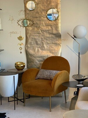 Cognac Velvet Chair