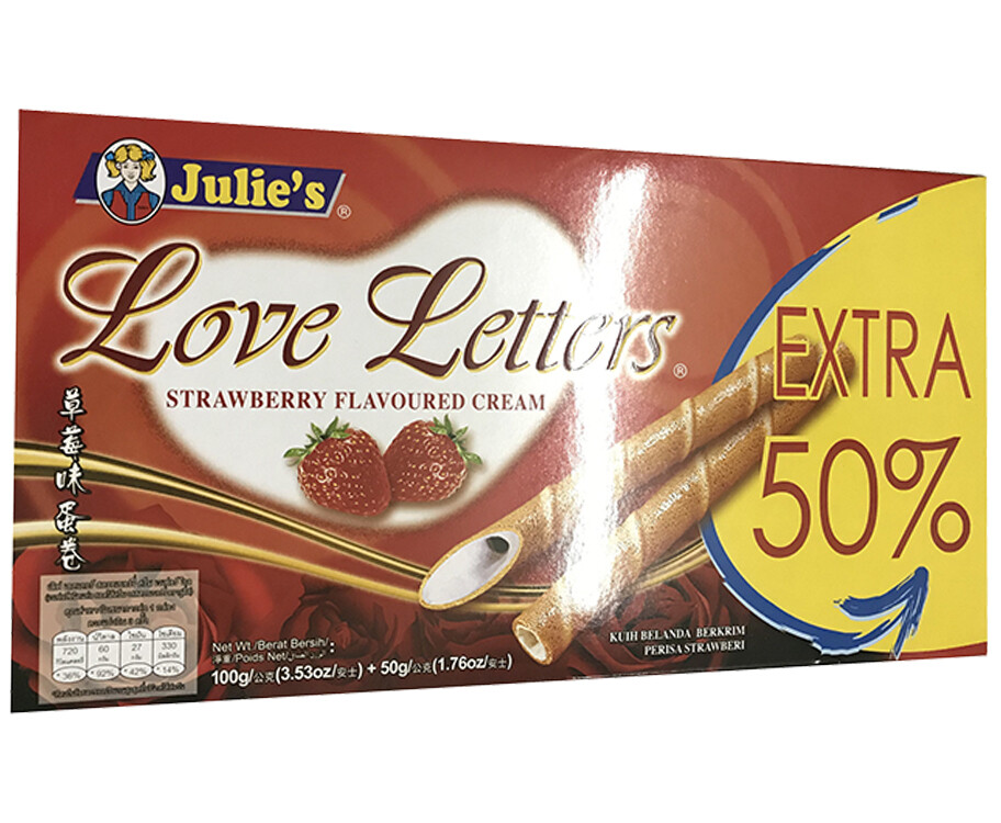 Julie's Love Letters Strawberry Flavoured Cream 100g + 50g