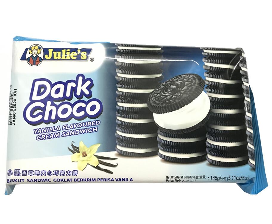 Julie's Dark Choco Vanilla Flavoured Cream Sandwich 145g