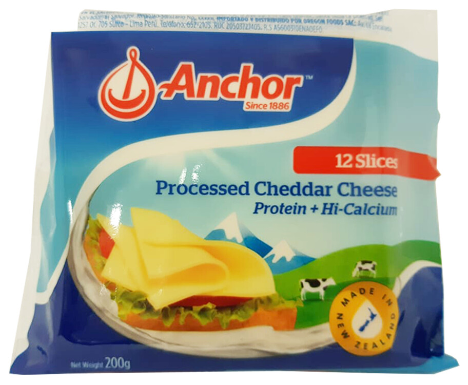 Anchor Processed Cheddar Cheese 12 Slices 200g