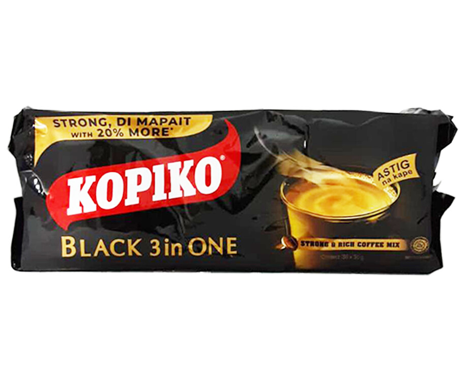 Kopiko Black 3-in-1 One Strong & Rich Coffee Mix (30 Packs x 30g)