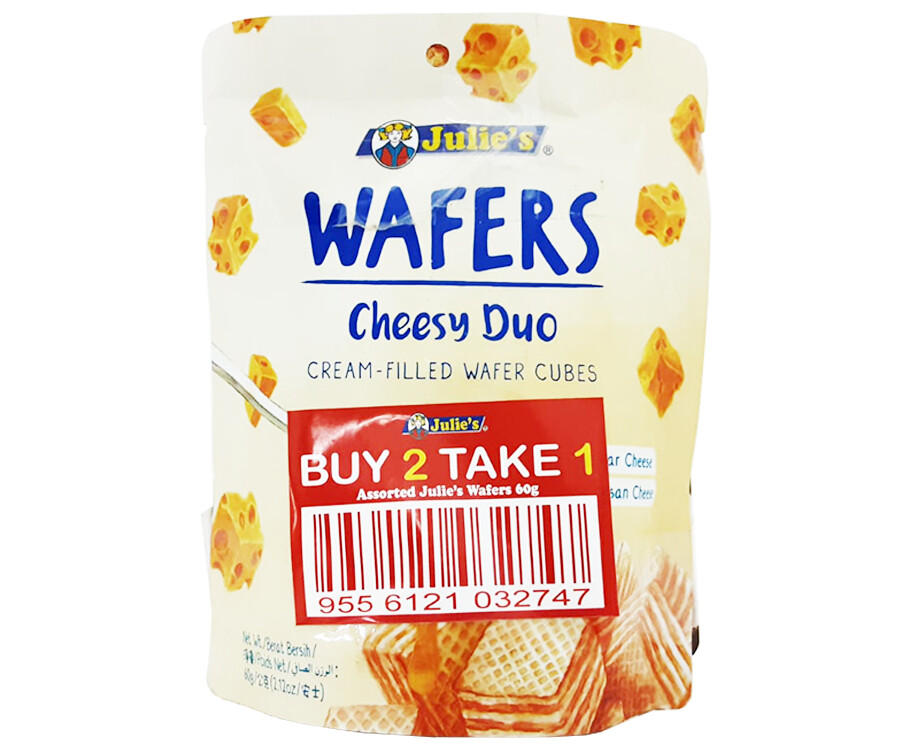 Julie's Wafers Cheesy Duo Cream-Filled Wafer Cubes (2+1 Packs x 60g)