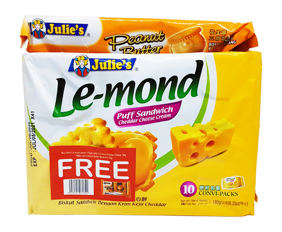 Julie's Le-mond Lemon 170g & Julie's Le-mond Puff Sandwich Cheddar Cheese Cream 180g + Free Julie's Peanut Butter Sandwich 135g