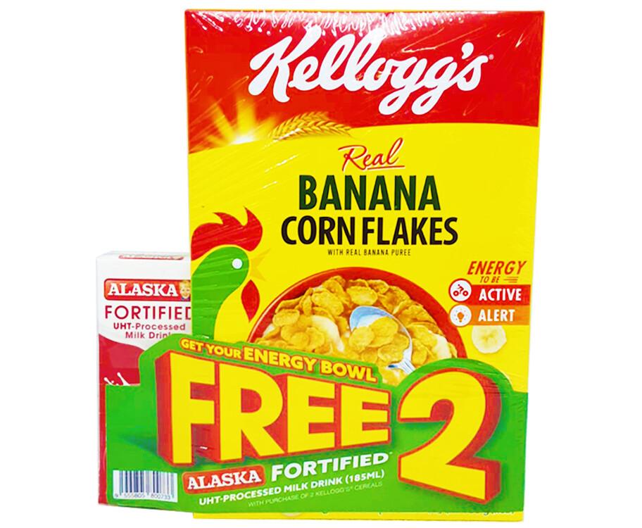 Kellogg's Real Banana Corn Flakes with Real Banana Puree + Free Alaska Fortified UHT-Processed Milk Drink (185mL)