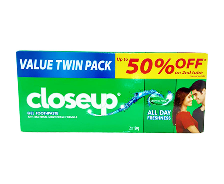 Closeup Gel Toothpaste Anti-Bacterial Mouthwash Formula Menthol Fresh Value Twin Pack (2 Packs x 120g)