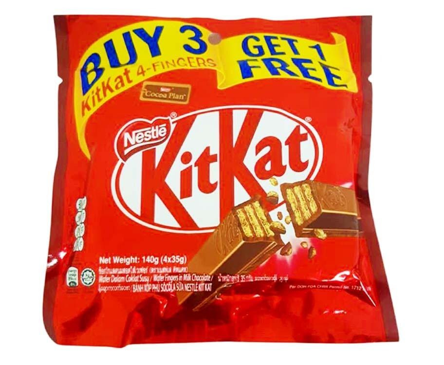 Nestlé KitKat 4 Fingers (3 + 1 Packs) 140g