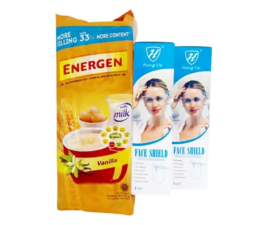 Energen Vanilla Nutritious Oat Cereal Mix + Free Face Shield (30 Packs x 40g)