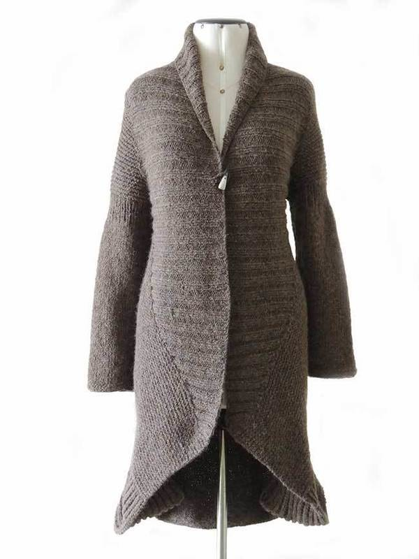 Hand knitted cardigan in alpaca blend.