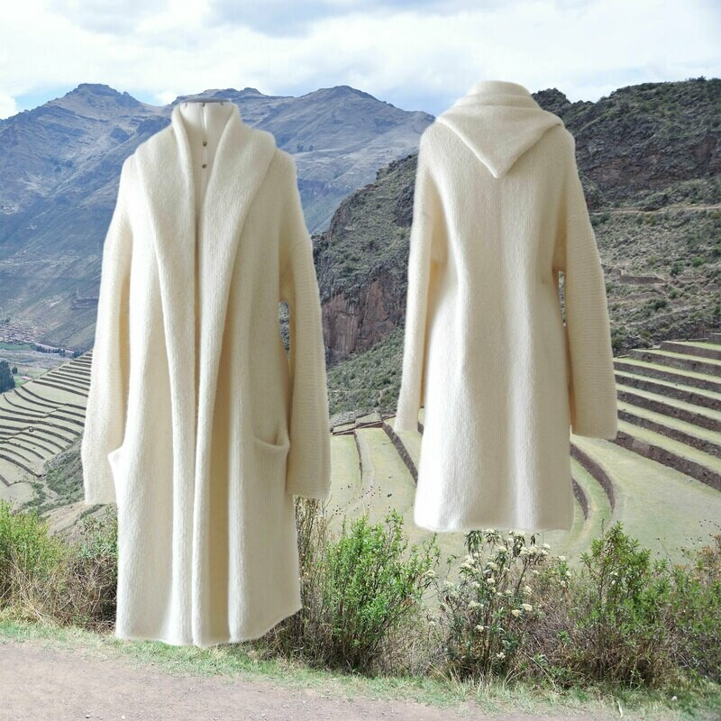 Capote Coat felted alpaca blend cardigan oversized hooded / non hood, creme white