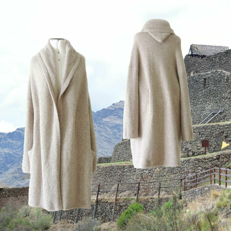 Capote Coat felted alpaca blend cardigan oversized hooded / non hood, oatmeal