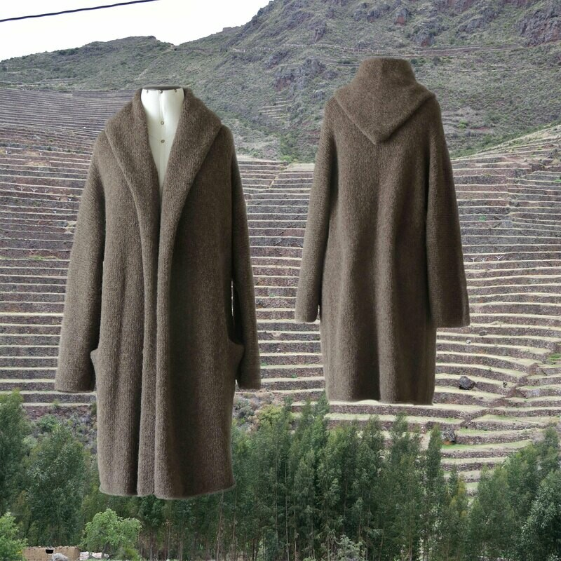 Capote Coat felted alpaca blend cardigan oversized hooded / non hood, Taupe