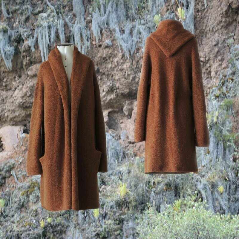 Capote Coat felted alpaca blend cardigan oversized hooded / non hood, Tan