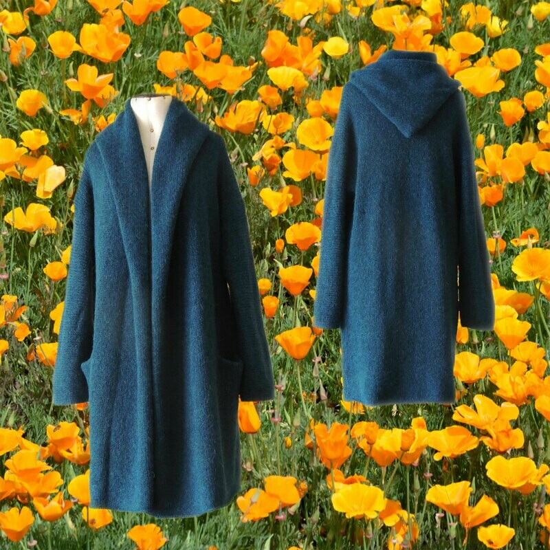 Capote Coat felted alpaca blend cardigan oversized hooded / non hood, Blue