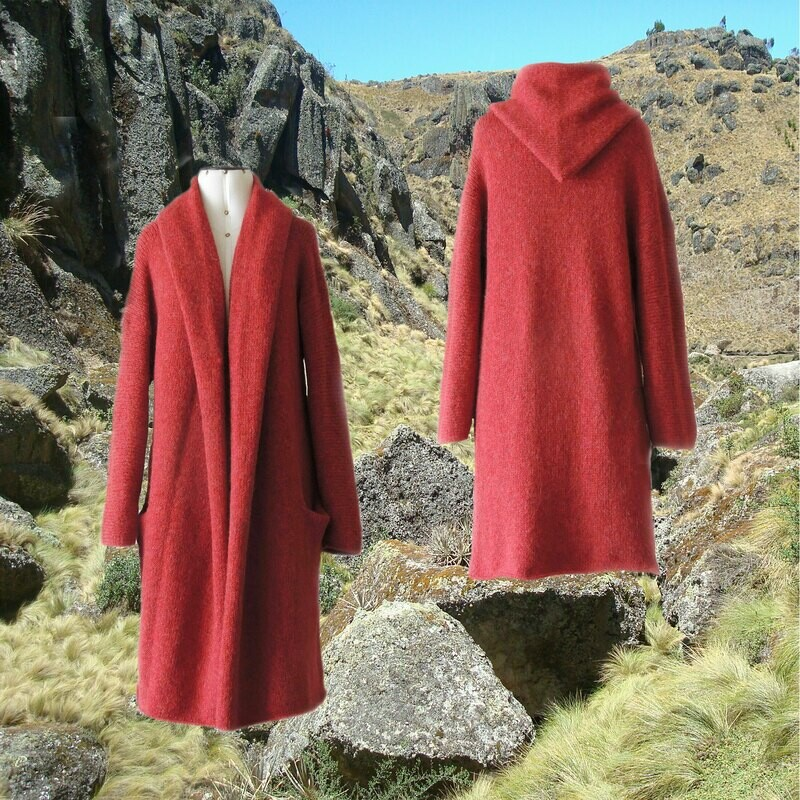 Capote Coat felted alpaca blend cardigan oversized hooded / non hood, Red
