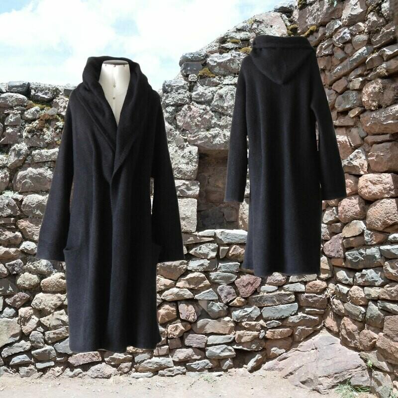Capote Coat felted alpaca blend cardigan oversized hooded / non hood, Black