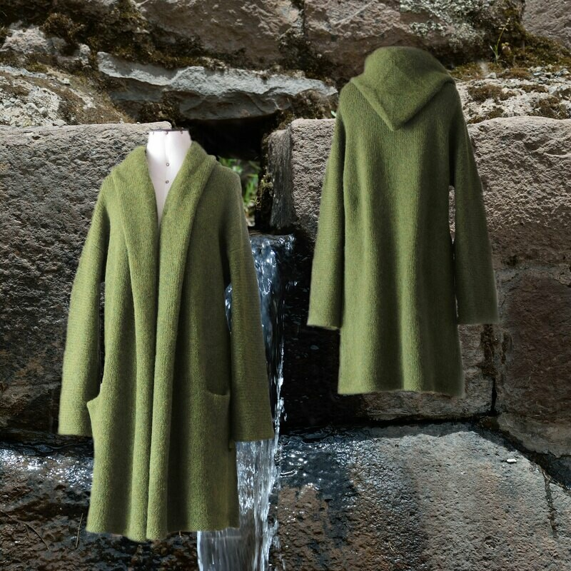 Capote Coat felted alpaca blend cardigan oversized hooded / non hood, Green