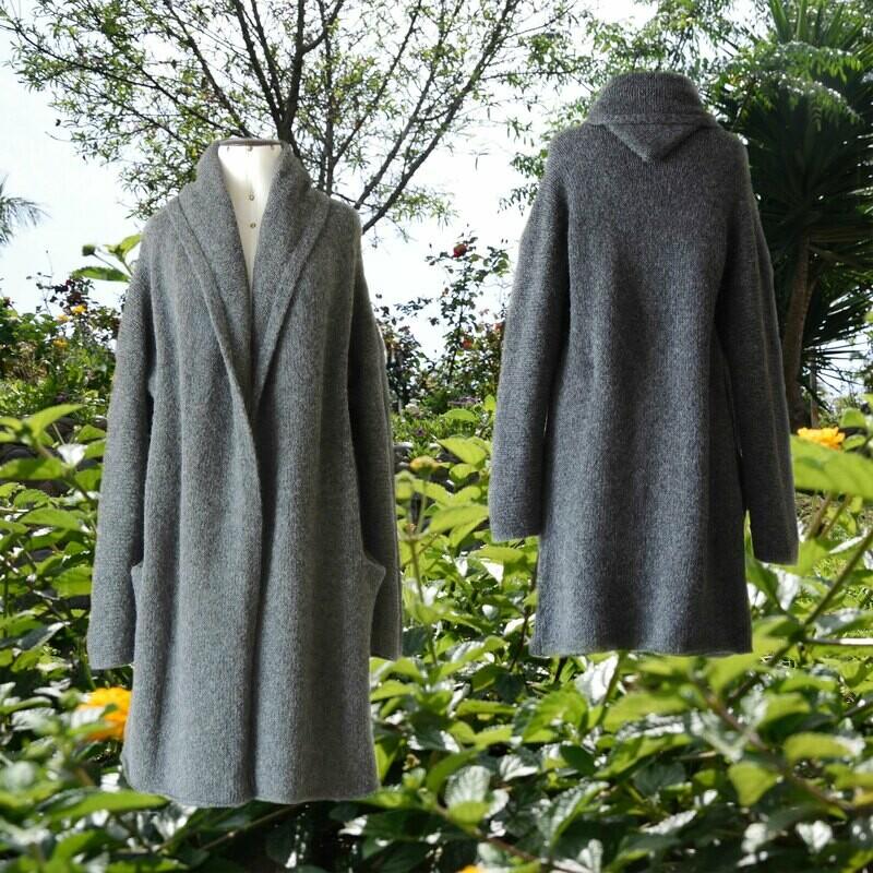 Capote Coat felted alpaca blend cardigan oversized hooded / non hood, Dark Gray