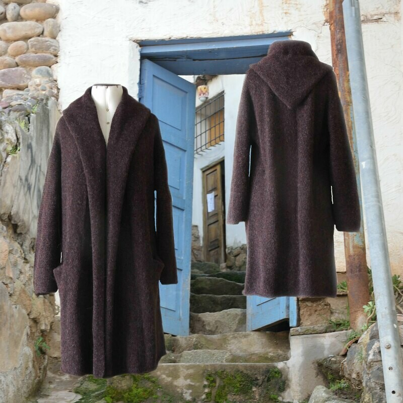 Capote Coat felted alpaca blend cardigan oversized hooded / non hood, Grapes