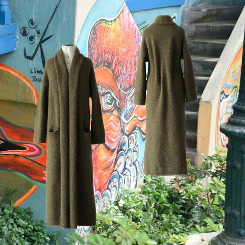 Capote Coat felted alpaca blend cardigan oversized hooded / non hood, Army Green