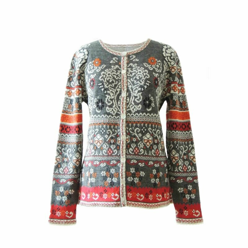 Women's Cardigan Lucy with jaqcuard pattern. 100% baby alpaca, gray-red-multi