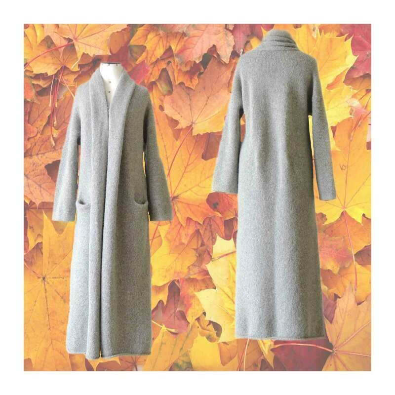 Capote Coat felted alpaca blend cardigan oversized hooded / non hood, Gray