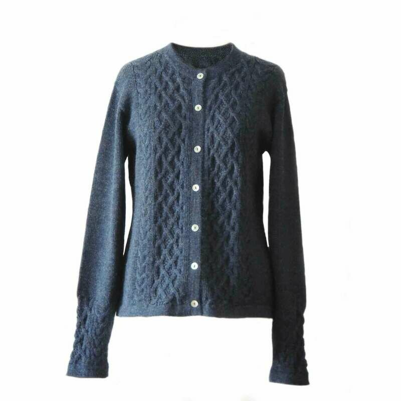 Womens cardigan Angee 100% alpaca, jeans blue. womens alpaca sweater