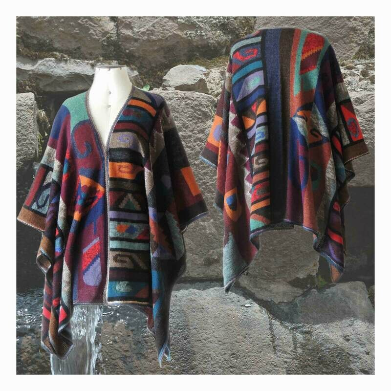 Ruana wrap alpaca intarsia knitted with colorful pattern