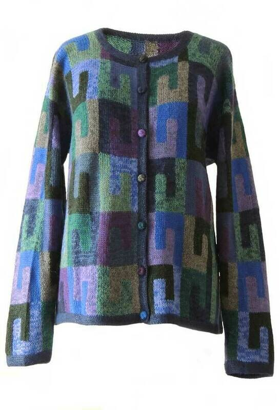 Alpaca Intarsia knitted cardigan Millie graphic blue multi color