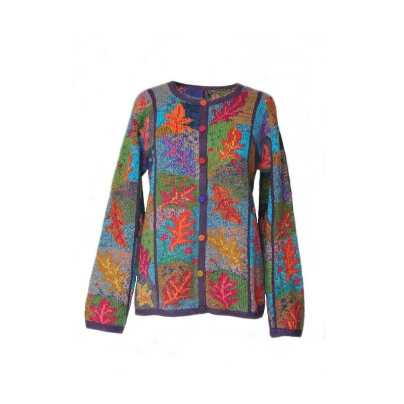 Women's cardigan alpaca intarsia knitted blue autumn foliage design multi color