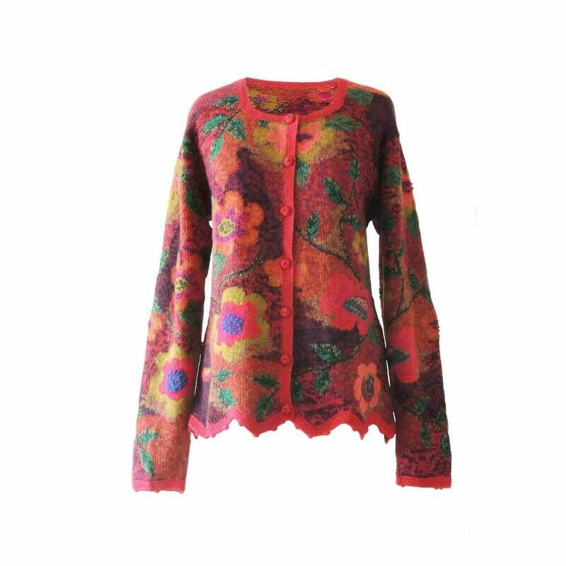 Women's cardigan alpaca Intarsia knitted flowers design red multi color