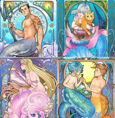 Mermaid Tarot Greeting Cards