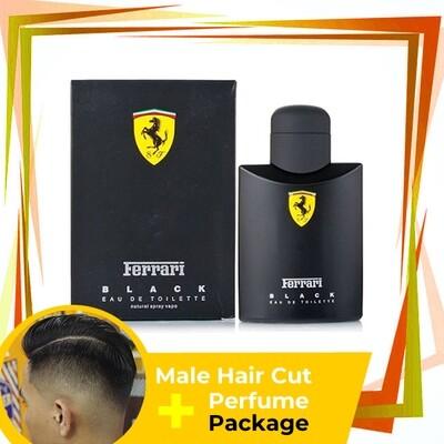 TipTop Barbershop Male Haircut Service + Perfume (Ferrari Black 125ml) Package