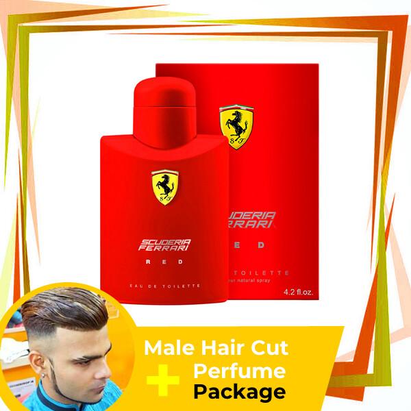 TipTop Barbershop Male Haircut Service + Perfume (Ferrari Red 125ml) Package