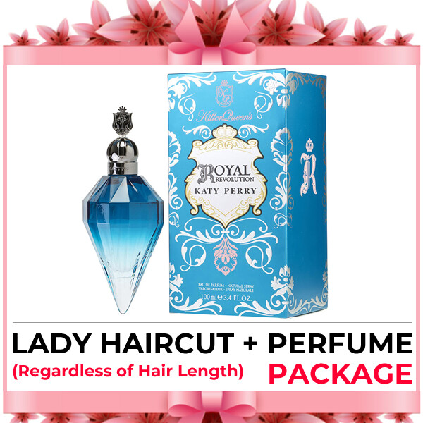 Hijabis Salon Muslimah Lady Haircut Service + Perfume (Katy Perry Royal Revolution EDT 100ml) Package