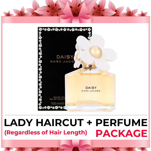 Hijabis Salon Muslimah Lady Haircut Service + Perfume (Marc Jacobs Daisy EDT 100ml) Package
