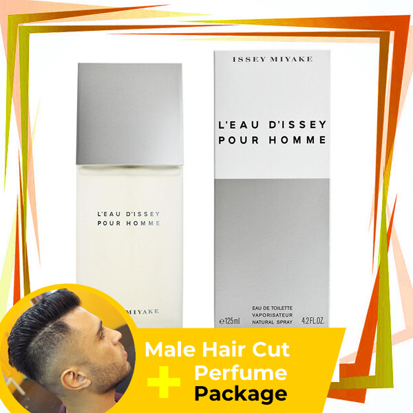 TipTop Barbershop Male Haircut Service + Perfume (Issey Miyake Pour Homme 125ml) Package
